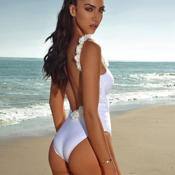 Cayman Islands White Floral Detail One Piece Swimsuit