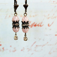 Lola ~ Vintage Sexy Shabby Romantic Earrings - Faceted Pink Czech Glass Beads - Aged Silver Rhinestones - Maddie Jean Vintage