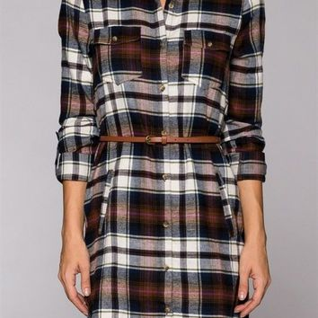 Plaid Print Belted Button Down Long Sleeve Shirt Flannel Shift Mini Dress
