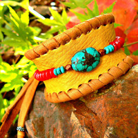GENUINE TURQUOISE & Coral Cuff Bracelet, Genuine Elk Leather, Native American, Tribal Adjustable Unisex Men and Womans Handmade, OOAK Gift