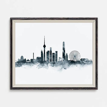 Beijing Skyline Art Print Wall Art Watercolor Printable Beijing China Travel Gift Office Decor Home Decor Digital Download