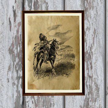 Native American print Indian art Old paper home decor 8.3 x 11.7 inches