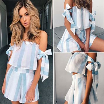Stylish Casual Set Summer Women's Fashion Stripes Backless Short Sleeve Bottom & Top