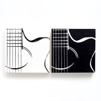10 x 10 Acoustic Guitar Duo Wood Canvas: Black & White Series (Gallery Wood Cradled Panels) Screenprint/Painting, Guitar Wall Art, Music Art