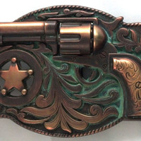 Spinning Cylinder - Vintage Western Buckle - Old West Cowboy Buckle - Gun Buckle - Unique Copper Buckle