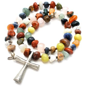 Gemstone Bead Cross Necklace Sterling Silver
