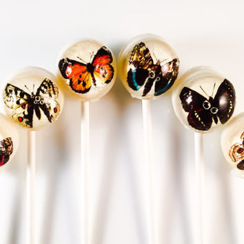 6 Butterfly Hard Candy Lollipops