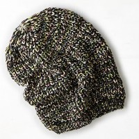 AEO Women's Mixed Knit Beanie (True Black)