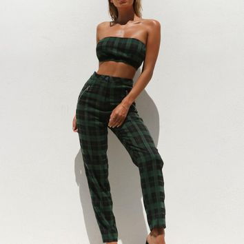 Buy Our Clueless Pant in Green/Black Check Online Today! - Tiger Mist