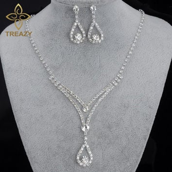 TREAZY Charming Bridal Bridesmaid Jewelry Sets for Women Crystal Choker Necklace Earrings for Wedding African Jewelry Set