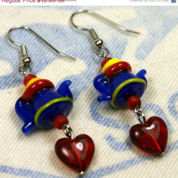 SALE Blue Lampwork Teapot Earrings with Red Heart Accents Dangle Yellow Tea Silver Gift Lamp Work Unique Handmade Jewelry by o2designs