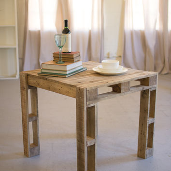 Kalalou Square Recycled Wood Crate Side Table CMX2318