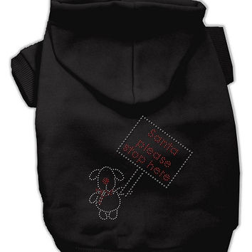 Santa Stop Here Dog Hoodie Black/Extra Small