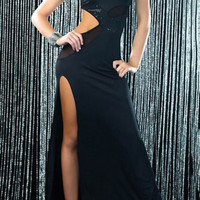 Black One-Shoulder Cut Out Sequined Maxi Dress