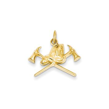 14k Yellow Gold 2D Fire Department Insignia Charm