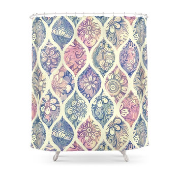 Society6 Patterned & Painted Floral Ogee In Vintage Tones Shower Curtains