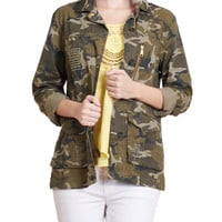 LE3NO Womens Long Sleeve Camo Military Anorak Jacket with Pockets