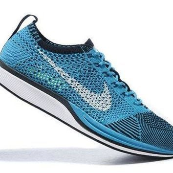 CHENEIR Best Sell Nike Flyknit Racer Black Photo Blue Men's Sport Running Shoes Trainers