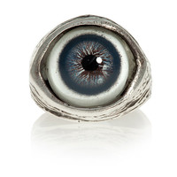 Human evil-eye ring in blue, solid sterling silver, size 4 to 11 adjustable (Made in USA)