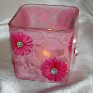 Handmade Shabby Chic Glass Candle Holder Pink Tissue Paper and Flowers with Frosted Embellishment Tea Light Holder Decoupaged Decoration