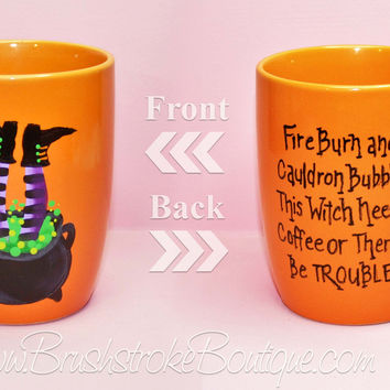 Hand Painted Coffee Mug - Cauldron Trouble - Original Designs by Cathy Kraemer