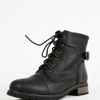 Bamboo Battle-23 Lace Up Combat Boots | MakeMeChic.com