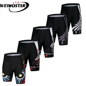 Weimostar 2018 Men Summer Bike Shorts Riding Bicycle Cycling Underwear Skull Black Short Pant Breathable Gel 3D Silicon Padded
