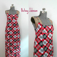 Betsey Johnson Dress Long Plaid Summer Maxi Grunge Preppy Punk Red White Black and Gray
