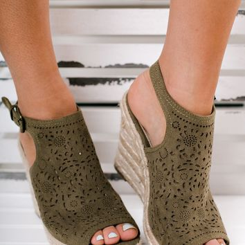 Good Days Only Not Rated Peep Toe Wedges (Olive)