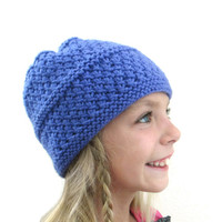 Childs Hat Purple Textured Winter Beanie