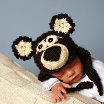 New Born Baby Bear Hat Knitting Pattern. Children Clothing. Hand Knitted Baby Hat. Instruction.