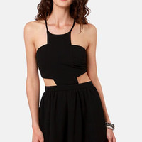 Race Against Time Backless Black Dress