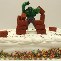 "Avengers Super Hero Incredible Hulk 15 Piece Birthday Cake Topper Set Featuring 6"" Hulk Figure and 14 Hulk Destroying Bricks"