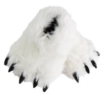 Bear Paw Slippers | Fuzzy Stuffed Animal Claw Shoes | Grizzly Bear Foot House Slippers | Funny Cosplay Costumes For Teens Adults