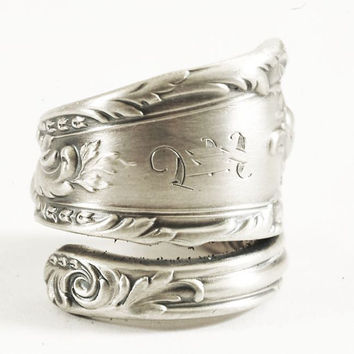 "Victorian Rococo Spoon Ring by Reed and Barton Romaine / Monique of 1933 in Sterling Silver Engraved ""E"", Handmade Adjustable to Size (4063)"