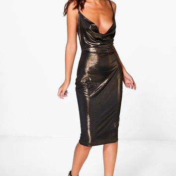 Pearl Metallic Strappy Cowl Neck Midi Dress | Boohoo