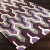 Cosmopolitan Area Rug | Purple Geometric Rugs Hand Tufted | Style COS9178
