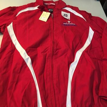 PHILADELPHIA PHILLIES RED 2008 WORLD SERIES CHAMPS FULL ZIP TRACK STYLE JACKET