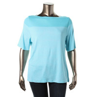 Charter Club Womens Plus Striped Short Sleeves Pullover Top