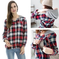 Pure cotton Nursing tops Maternity plaid Hoodie shirts breastfeeding clothes spring and autumn casual feeding pregnant clothes