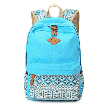 Women's Blue Polka Dots Backpack for College Bookbag for Teen Girls School Bag + Free Gift Cute Elephant Ring