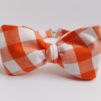 Bow Tie for Men by BartekDesign: self tie orange white wedding grooms informal formal necktie gingham checked check