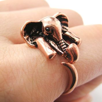 African Elephant Animal Wrap Around Ring in Shiny Copper - Sizes 6 to 10.5 Available