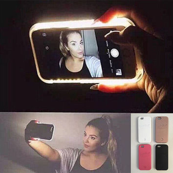 Hot LED Light selfie Phone Case for iPhone 7 7 Plus 5 5S SE 6 6s 6 Plus 6s Plus Case Light Selfie Led Cover 5 colors + Nice Gift Box