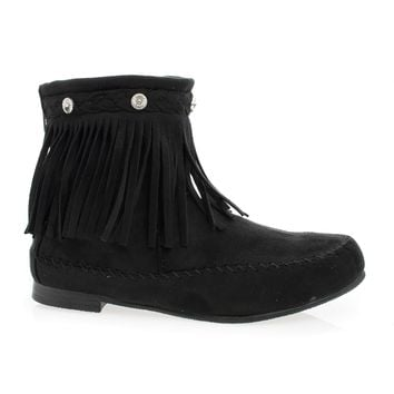 Starcy93 Black By Wild Diva, Moccasin Braid Fringe Round Toe Flat Ankle Boots