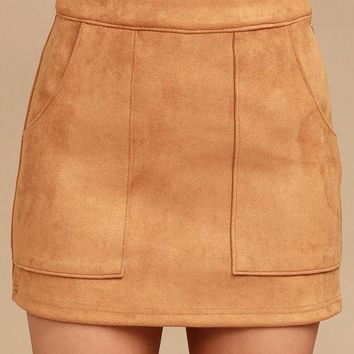 Suede Perfect Skirt -Tan