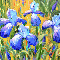 "Irises -  Triptych Impressionism. Palette Knife Oil Painting on Canvas by Dmitry Spiros. 3 paintings Size: 20""x26"""
