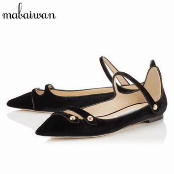 Mabaiwan 2017 New Fashion Vintage Velvet Casual Women Shoes Pointed Toe Ballerina Soft Flats Shoes Woman Moccasins Espadrilles