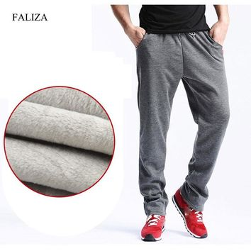 FFALIZA 2018 New Mens Joggers Winter Thick Fleece Pants Men Straight Pants mirco velvet Sweatpants men joggers casual pants CK-D