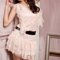 Romantic Round neck Cotton Lace Dress